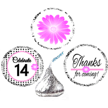 CakeSupplyShop Item#014BPH 14th Birthday / AnniversaryPink Black Polka Dot Party Favor Hershey Kisses Candy Stickers / Labels -216ct](14th Birthday Party Ideas)