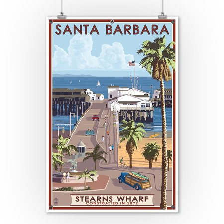 Santa Barbara, California - Stern's Wharf - Lantern Press Artwork (9x12 Art Print, Wall Decor Travel - Barbara Nautical Print