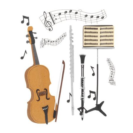 Dimensional Stickers, Musical Trio, Jolee's Boutique Musical Trio dimensional stickers. This collage of musical instruments and notes is perfect for embellishing.., By Jolee's Boutique ()