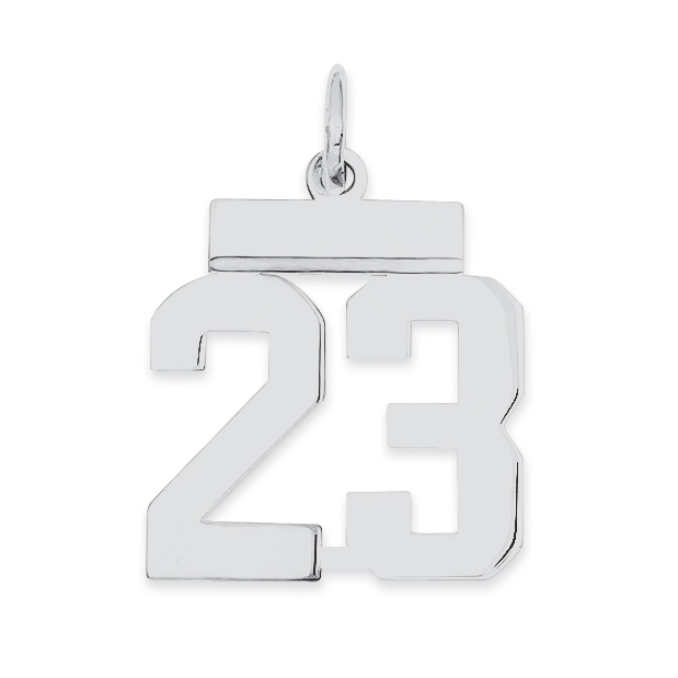 Sterling Silver Small Polished Number 23 Charm