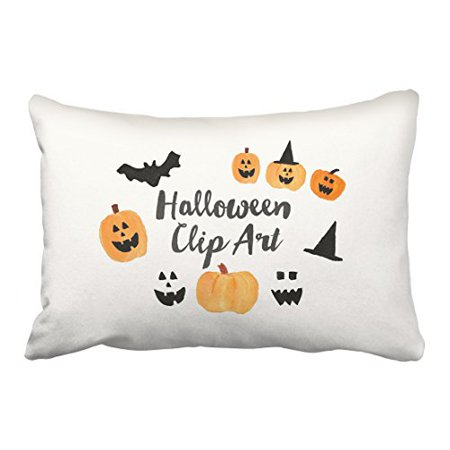 WinHome Halloween Cute Pumpkin And Bats And Witch Hat Watercolor Painting Decorative Pillow Cover With Hidden Zipper Decor Cushion Two Side 20x30 inches - Halloween Painting Pumpkins Ideas