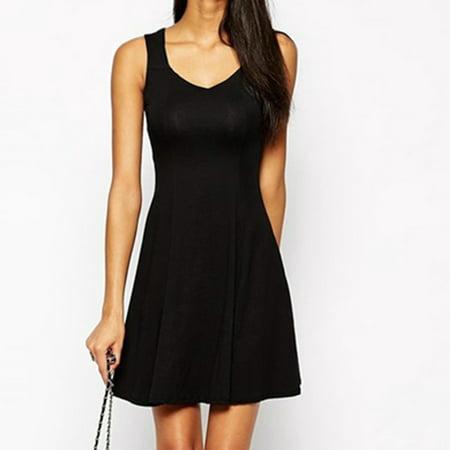 Women Summer Dress Slim Solid Sleeveless V neck Party Short Dress Beach Skater Pleated Prom Dress Black Size S Black Pleated V-neck Dress