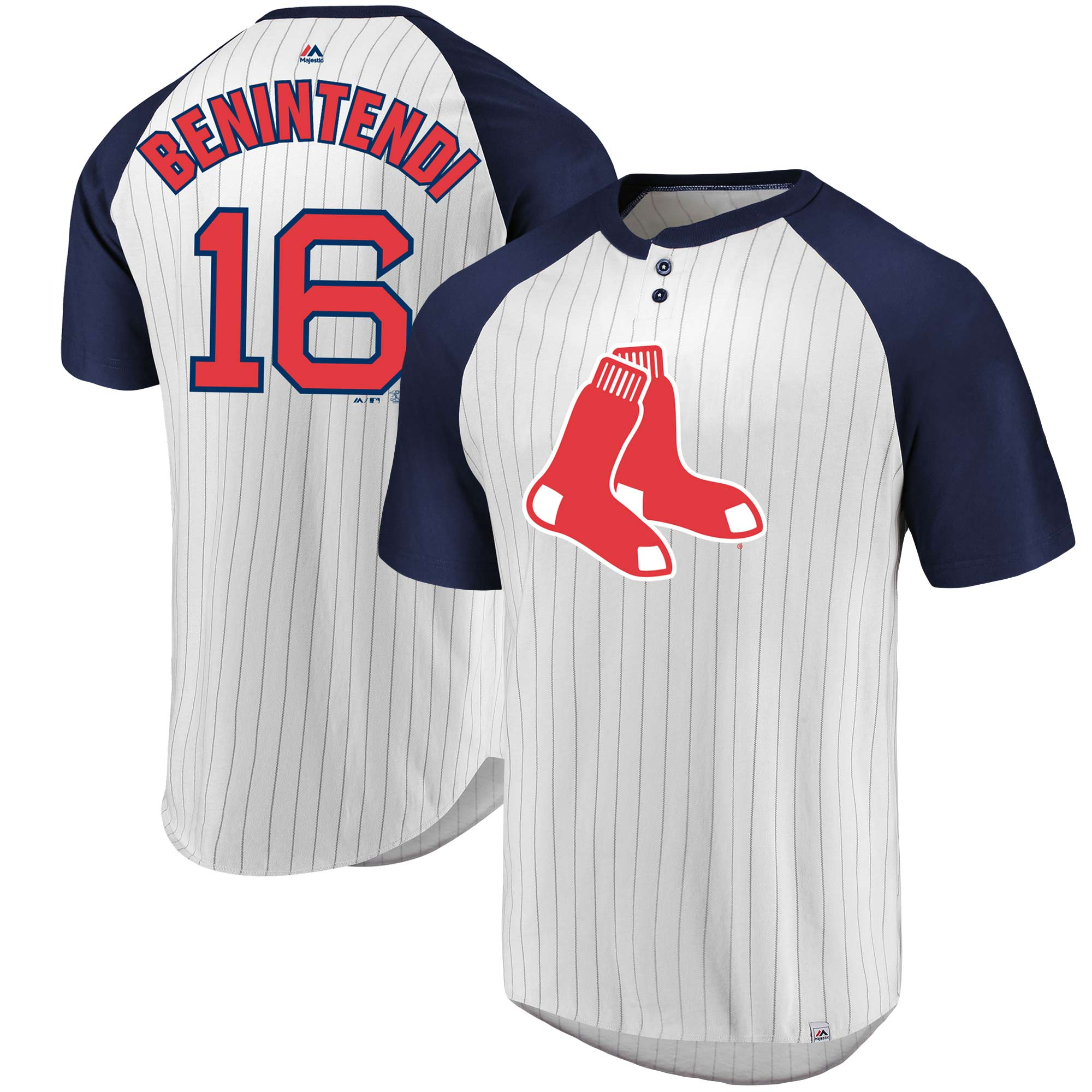 Andrew Benintendi Boston Red Sox Majestic Everything in Order Pinstripe Name & Number T-Shirt - White/Navy