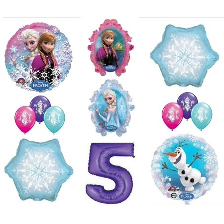 FROZEN Anna ELSA OLAF Snowman Snowflake 5th #5 12 Birthday Party Balloons Set O by, (1) Disney Frozen Anna and Elsa double sided Mylar Balloon. Anna is pictured.., By LoonBalloon