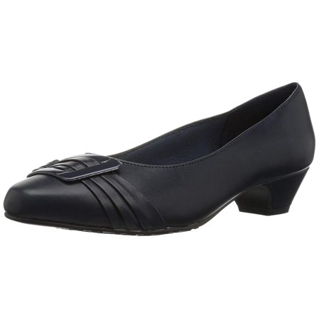 Hush Puppies Womens Soft Style Pleats Be With You Casual Heels, Navy, Size