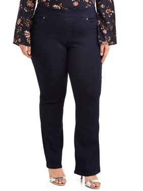 Terra & Sky Womens Plus Size Bootcut Pull On Jean with Tummy Control, Available in Petite