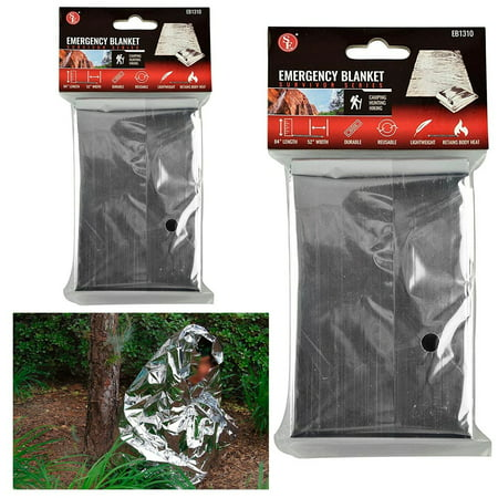2 Emergency Space Blanket Survival Gear Bag Safety Camp Travel Outdoors Soft