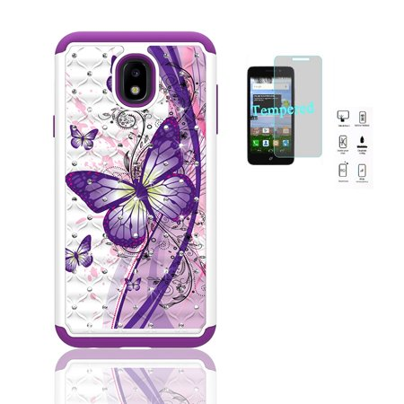 Phone Case for Samsung Galaxy J3 Star, J3 (2018), Studded Rhinestone Diamond Bling Cover Case + Tempered Glass Screen Protector (White-Purple Butterfly) Design Rhinestone Protector Case