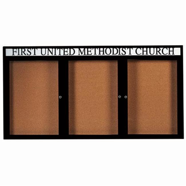 Aarco Products 3-Door Enclosed Bulletin Board Aluminum Frame with Header