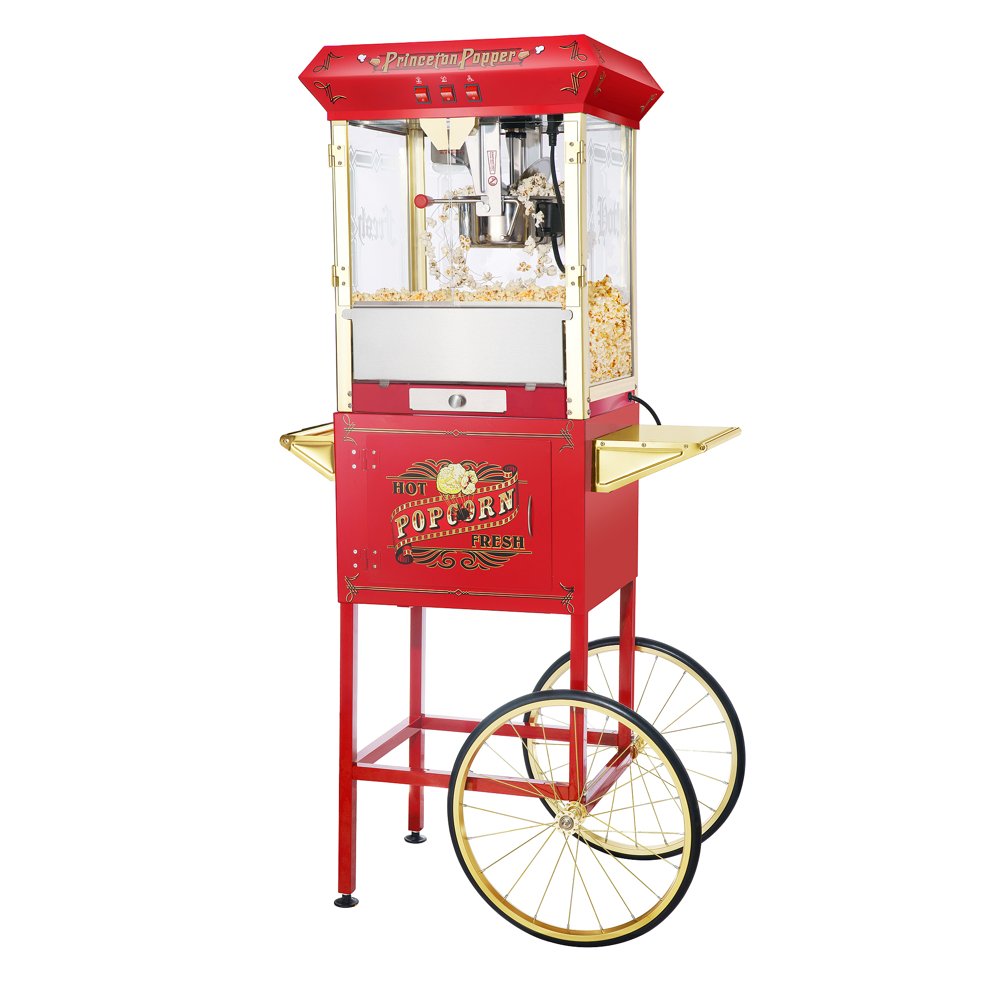 Great Northern Red Antique Style 8oz Popcorn Popper Machine with Cart, 8 Ounce