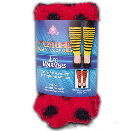 Star Power Women Ladybug Costume 2pc Leg Warmers, Red Black, One-Size (14