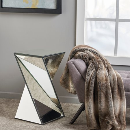 Christopher Knight Home Amiel Geometrical Mirrored End Table (Knight Base Table)