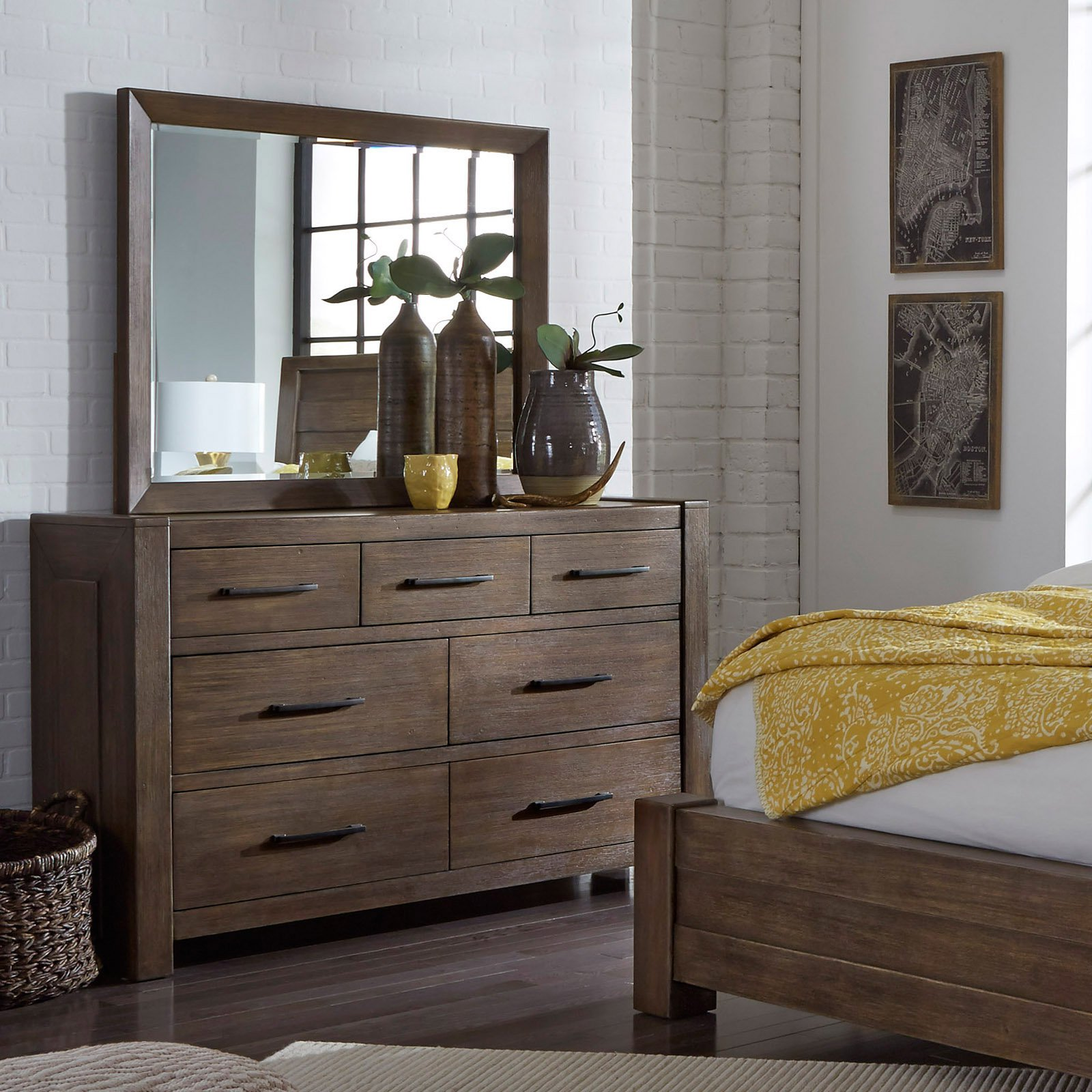 Samuel Lawrence Furniture Hops 7 Drawer Dresser with Optional Mirror