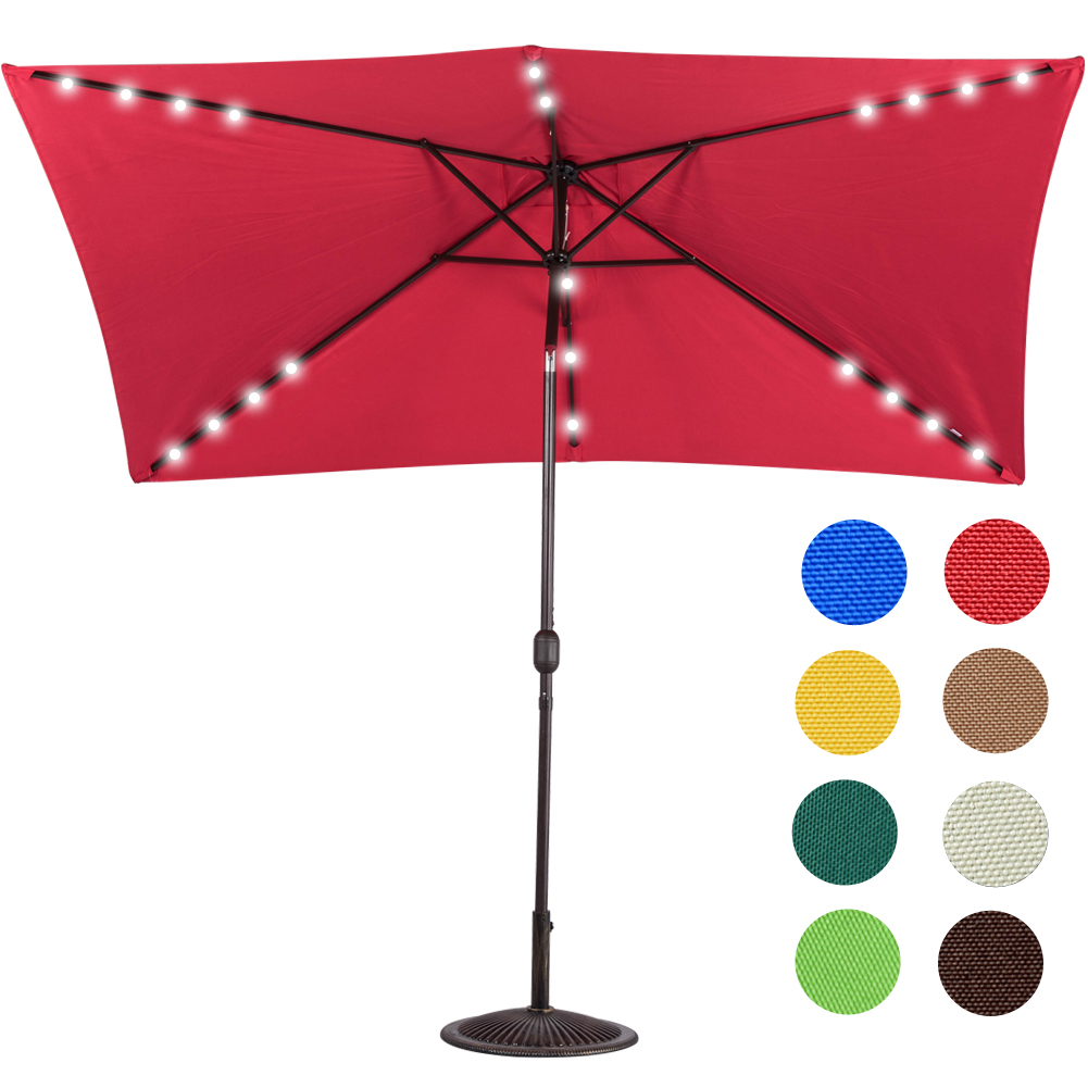 Sundale Outdoor Rectangular Solar Powered 24 LED Lighted Outdoor Patio Umbrella with Crank and Tilt, Aluminum, 10 by 6.5-Feet