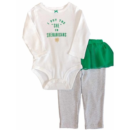 Carters Infant Girls St Patricks Day Outfit Shenanigans Bodysuit & Pants