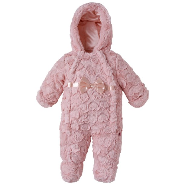 Wippette Baby Girls Infants Plush Faux Fur Dual Front Winter Snowsuit Bunting