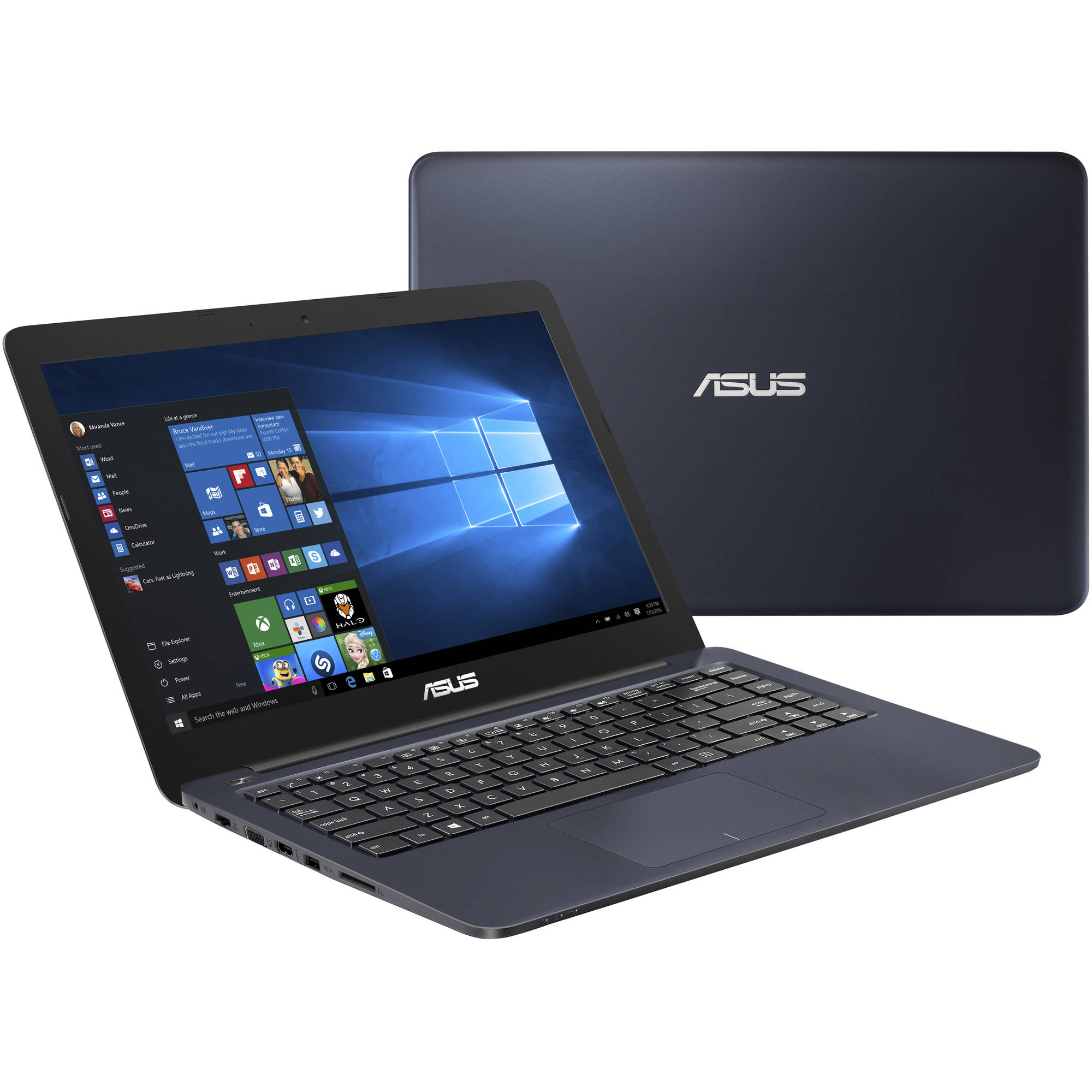 "Asus Dark Blue 14"" EEEBOOK E402SA-DS01-BL Laptop PC with Intel Celeron N3050 Dual-Core Processor, 2GB Memory, 32GB Flash Storage and Windows 10"