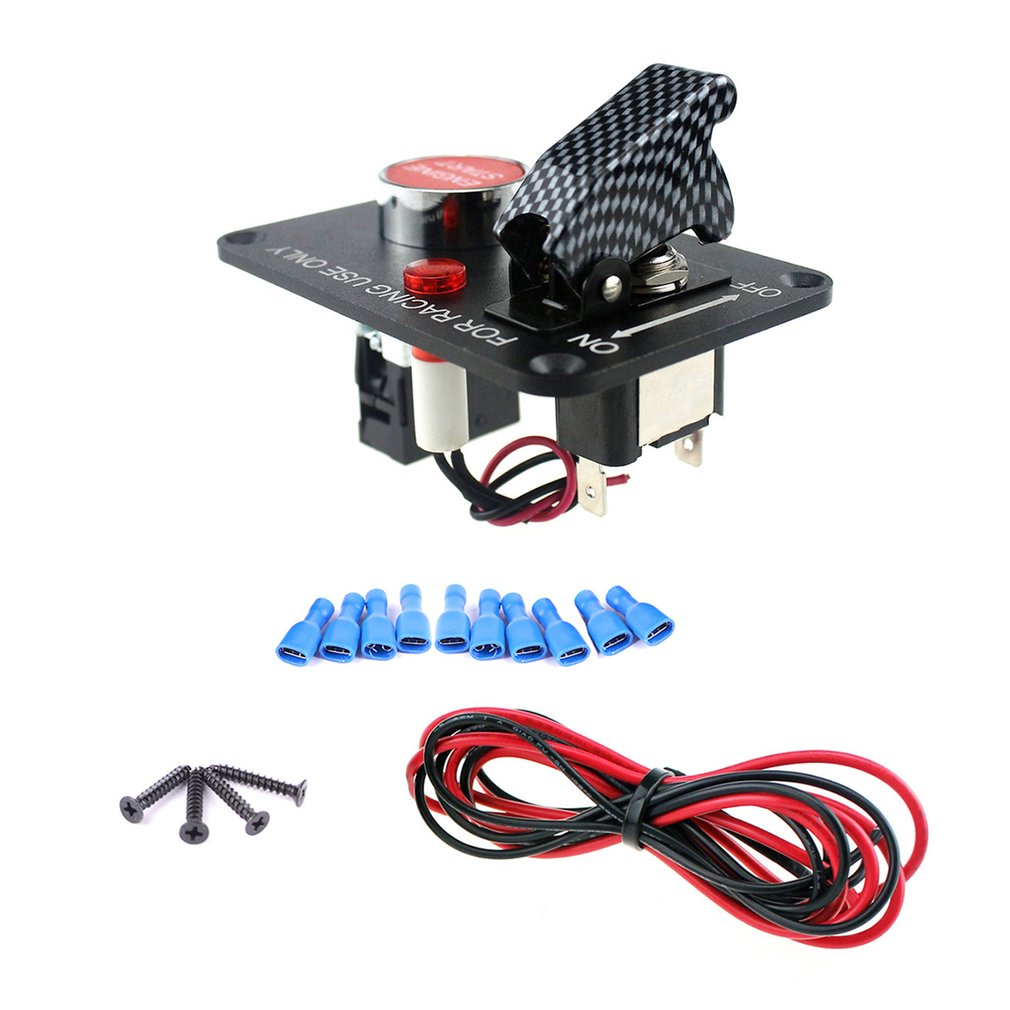 Universal 12v Ignition Switch Panel Car Engine Start Push Button How Do I Wire A Toggle And The With Red Led Light For Truck Racing