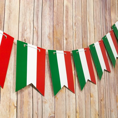 Quasimoon Italian Flag Italy Country Pattern Guidon Pennant Banner Garland (11FT) by - Italian Party
