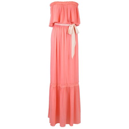 Flying Tomato Sweet Bohemian Ruffle Layer Tie Waist Tube Top Maxi Dress