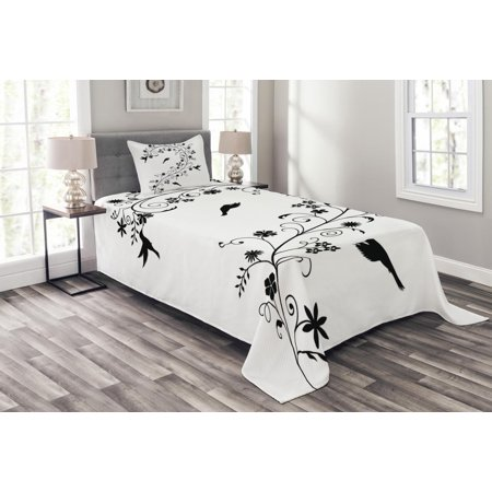 Black and White Bedspread Set, Victorian Curves Swirls with Bird Silhouettes Monochrome Flora and Fauna, Decorative Quilted Coverlet Set with Pillow Shams Included, Black White, by Ambesonne ()