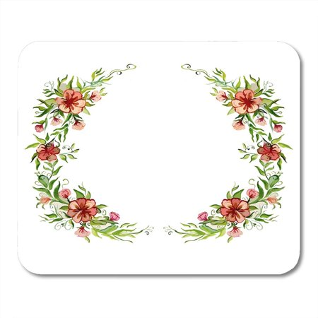 POGLIP Yellow Brush Red Deep Watercolor Bright Beautiful Flower Wreath for Orange Abstract Color Mousepad Mouse Pad Mouse Mat 9x10 inch - image 1 of 1