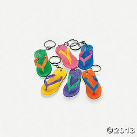 12 Rubber Flip Flop Keychains Bright Color Sandal Luau Pool Party Favors ()