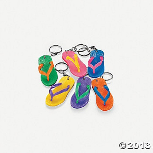 12 Rubber Flip Flop Keychains Bright Color Sandal Luau Pool Party Favors