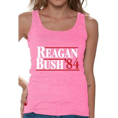 Awkward Styles Reagan Bush 84 Tank Top for Women Retro Presidential Campaign Tank Funny July 4 Outfit Ronald Reagan Bush Sleeveless Shirt for Women Republican Gifts for Her Retro Reagan Bush 84