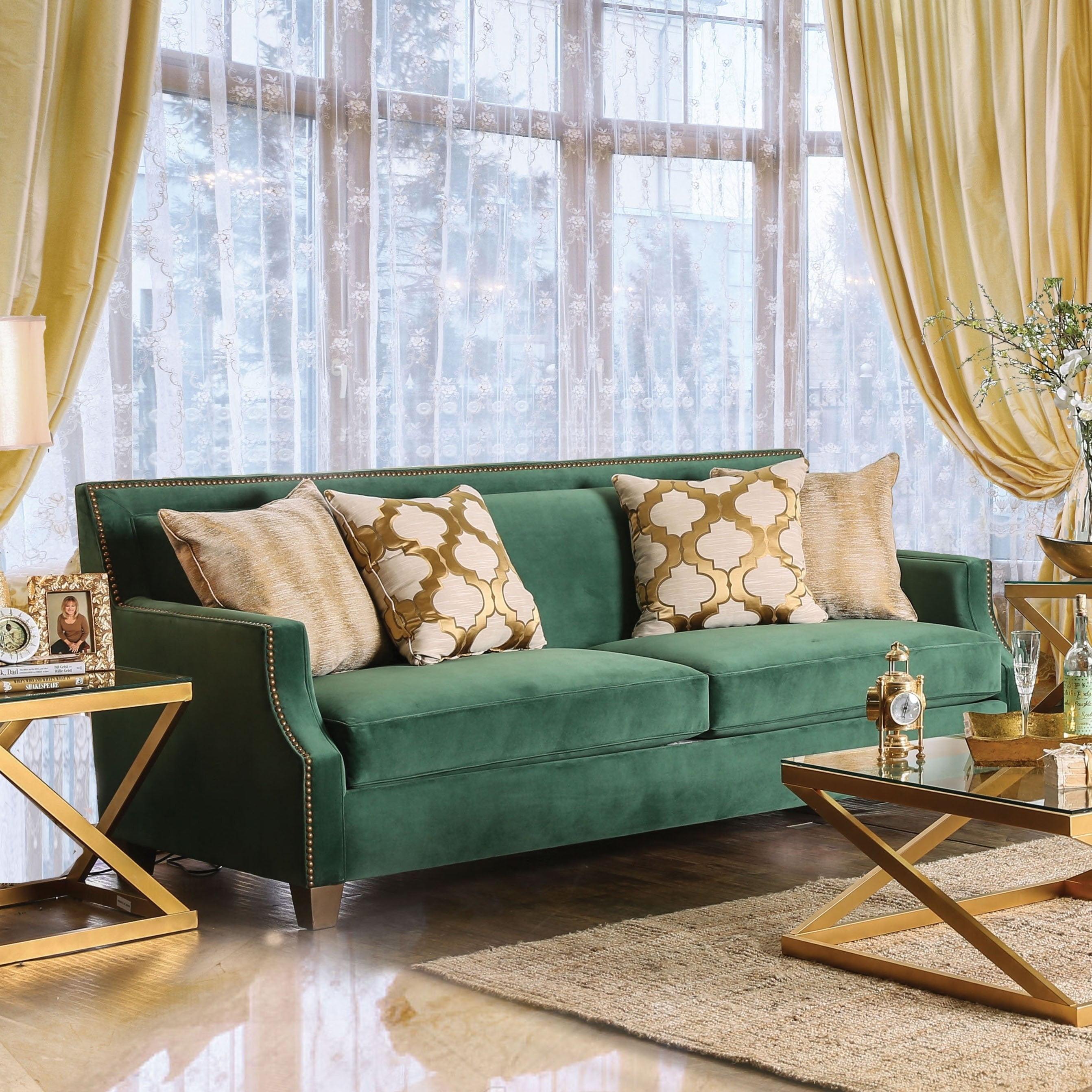 Furniture Of America Yaur Contemporary Green Fabric Nailhead Trim Sofa Walmart Com Walmart Com