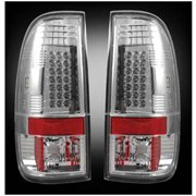 97-03 F150/99-07 Super Duty Straight-Style Side LED Tail Lights, Clear Lens