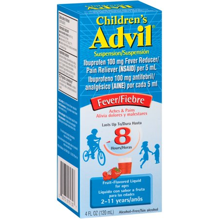 Children's Advil Liquid Suspension Fever Reducer/Pain Reliever (Ibuprofen) in Fruit Flavor 100mg 4 Fl Oz Box