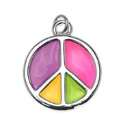 Silver Plated Colorful Enamel Groovy Peace Sign Charm 17mm (1)