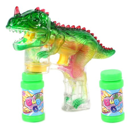 T-Rex Battery Operated Toy Bubble Blowing Gun w/ 2 Bottles of Bubble Liquid for Kids,