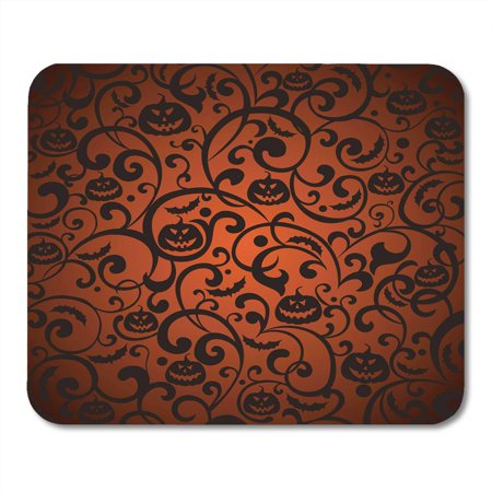 SIDONKU Orange Pattern Halloween Vintage Silhouette Bat Black Autumn Mousepad Mouse Pad Mouse Mat 9x10 - Halloween Silhouette Patterns
