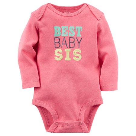 Carters Baby Girls Best Baby Sis Bodysuit Pink