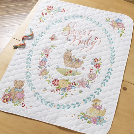 Bucilla Stamped Cross Stitch Sweet Baby Crib Cover, 1 Each