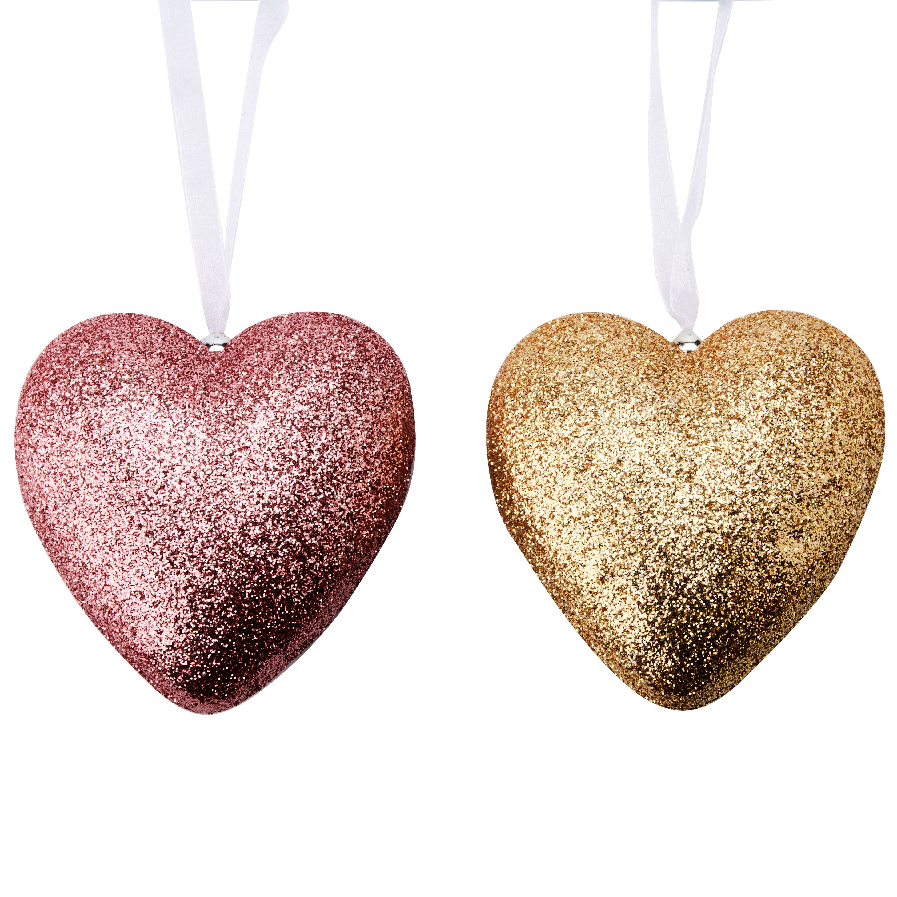 Way To Celebrate Valentine's Day Hearts, Pink and Gold Glitter, 6 Count