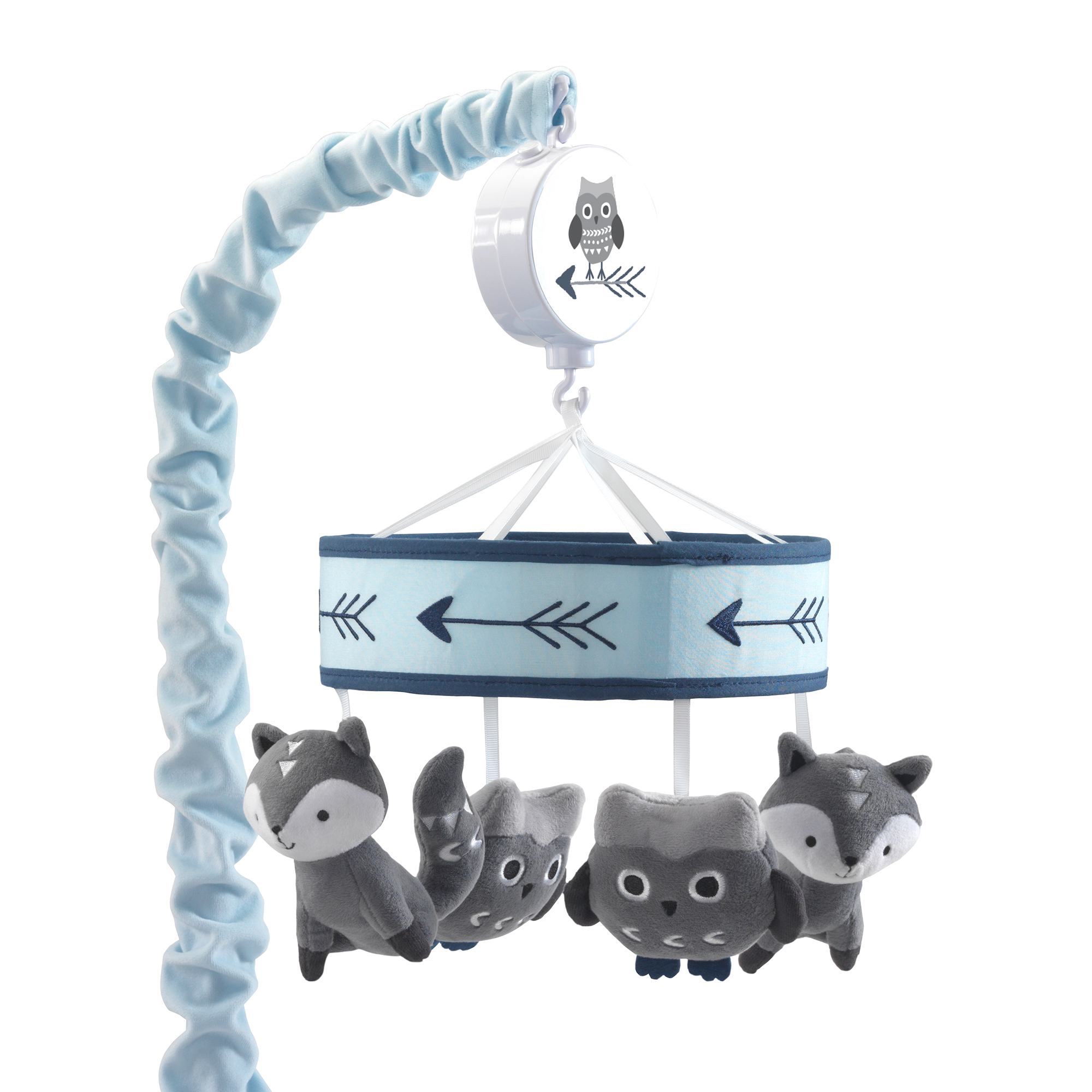 Click here to buy Lambs & Ivy Stay Wild Blue Gray Fox & Owl Musical Baby Crib Mobile by Lambs %26 Ivy.