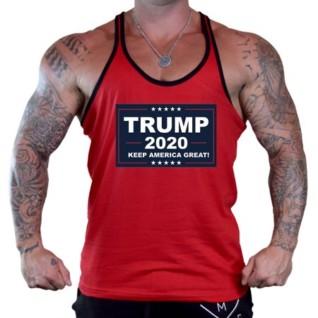 Men's Trump 2020 Red Stringer Tank Top Small Red Cotton Stringer Tank Top