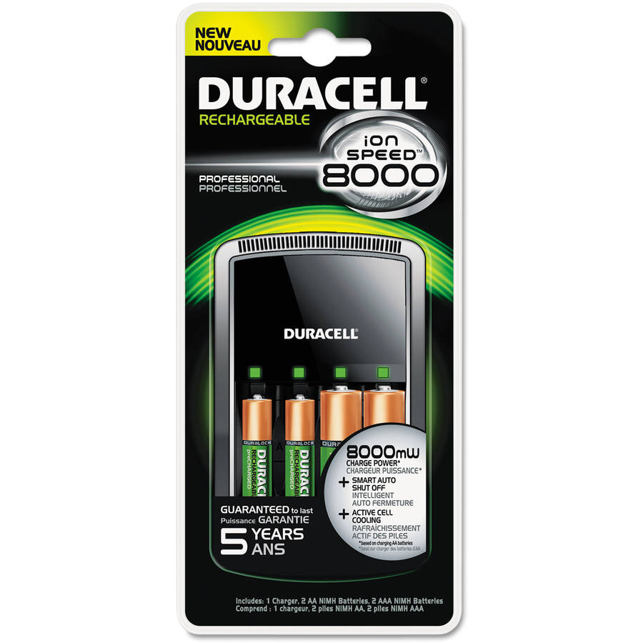 Duracell ION SPEED 8000 Professional Charger, Includes 2 AA and 2 AAA NiMH Batteries
