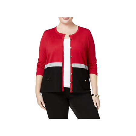 Karen Scott Womens Plus Colorblock Jewel Cardigan (Karen Jewel)