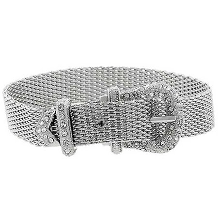 Adjustable Plated Mesh Pave CZ Belt Buckle Bracelet 8in