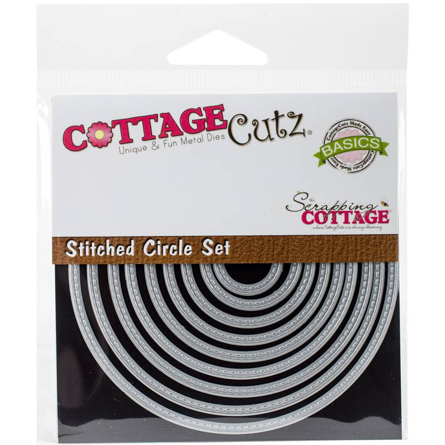 "CottageCutz Basics Dies, 9pk, Stitched Circle, .75"" to 3.75"""