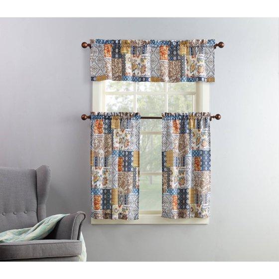 Hamilton 3 Piece Kitchen Curtain Set Available In 4: Mainstays Amelia 3-Piece Kitchen Curtain And Valence Set