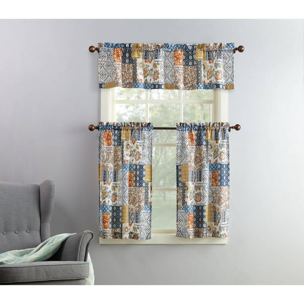 Mainstays Amelia 3-Piece Kitchen Curtain and Valance Set