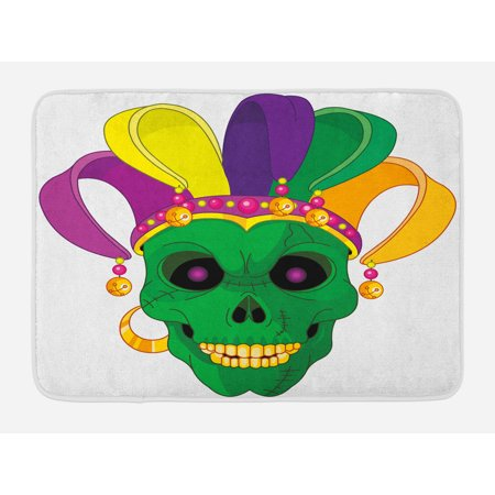 Scary Carnival (Mardi Gras Bath Mat, Scary Looking Green Skull Mask with Carnival Hat Beads and Earring Cartoon Style, Non-Slip Plush Mat Bathroom Kitchen Laundry Room Decor, 29.5 X 17.5 Inches, Multicolor,)