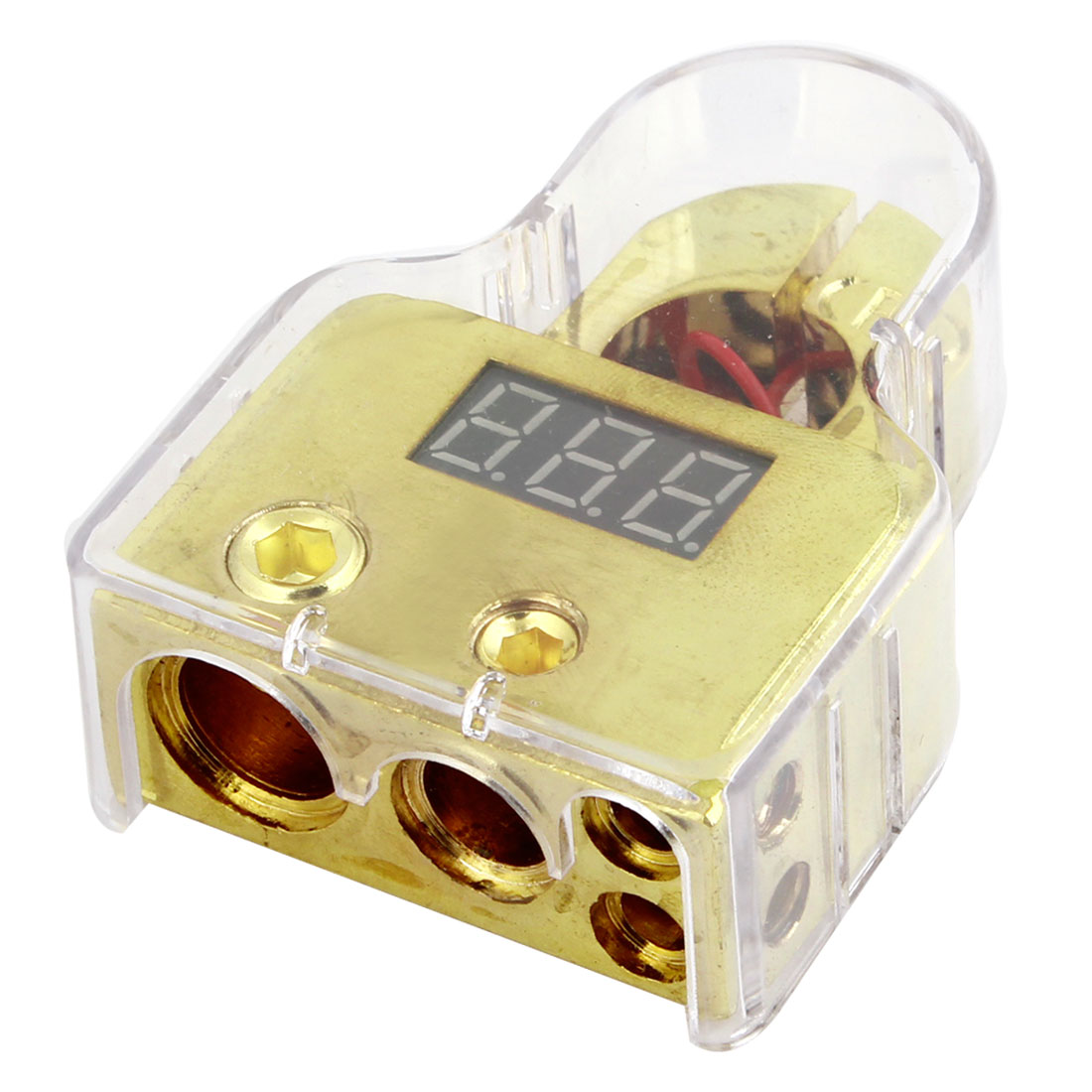 Volt Meter Display Gold Tone Plated Digital Battery Terminal Clamp