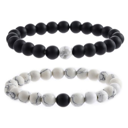 - Fancyleo Tiger Eye Stone Beads Frosted Stone Bracelet Couple Elastic Bangles Bracelets 2 Pcs