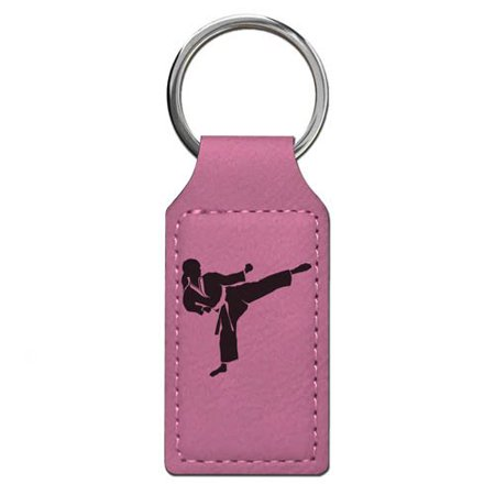 Personalized Basketball Keychains (Keychain - Karate Woman - Personalized Engraving Included (Pink)